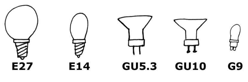 Häufig verwendete Fassung die als LED Retrofit erhältlich sind